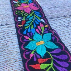 Floral black belt